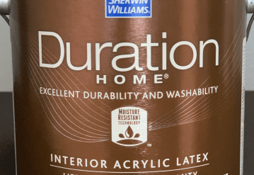 Can of Sherwin Williams Duration Paint