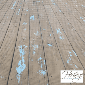 An Old Deck with Peeling Stain in Carmel Indiana
