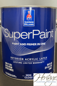 A Can of Sherwin Williams SuperPaint Semi Gloss Finish