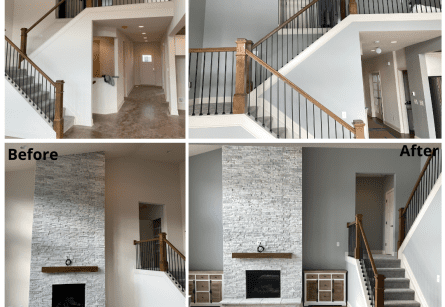 Before and after images of a living room and stairway in a Fishers home.