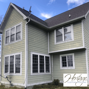 A house with fading and PH burn on the paint