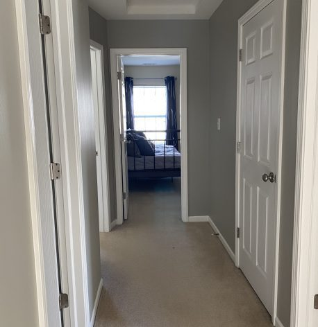 A hallway with fresh grey walls, white trim, white doors, and white ceiling.