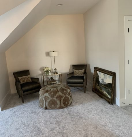Quite sitting area with White Satin Painted Walls, Semi-Gloss Baseboards, Doors and Door Frames.