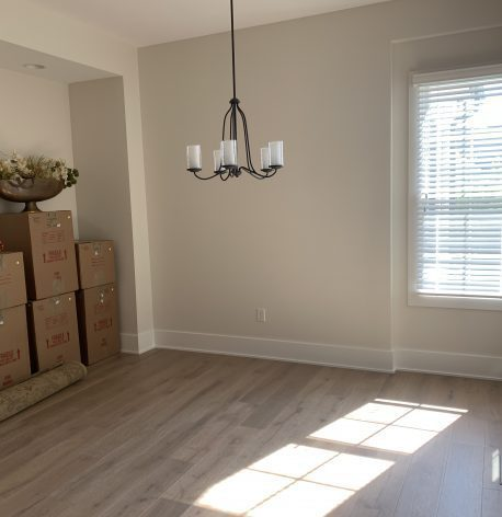 Dinning Room with Satin White Walls, White Semi-Gloss Baseboards and Windows.