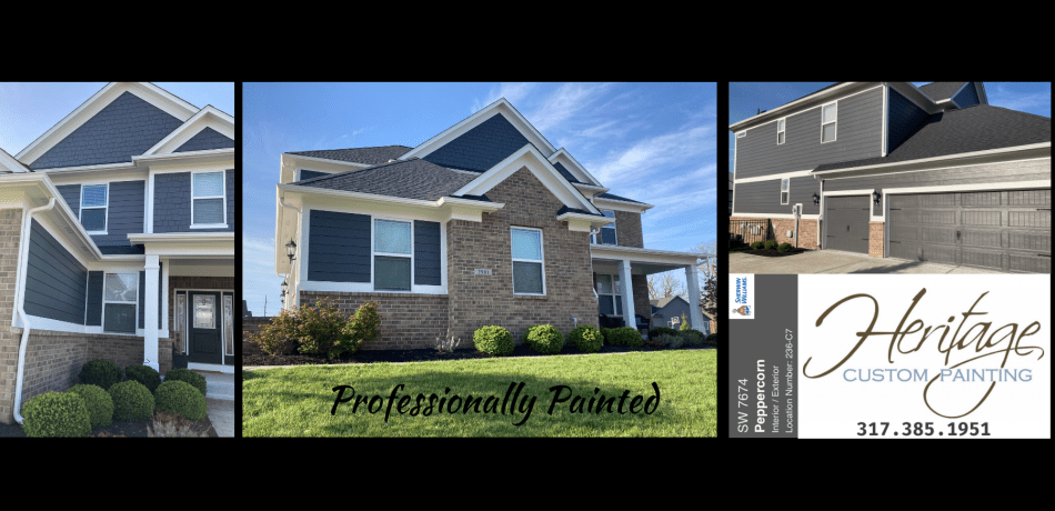Three images of a freshly painted house with he Heritage Custom Painting logo in the corner.