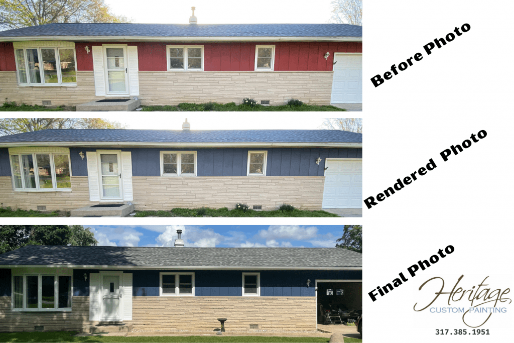 Shows the same Kokomo Indiana, house in three different states. The first state is the before Picture. The second state is the digital rendering. The last state is the final picture.