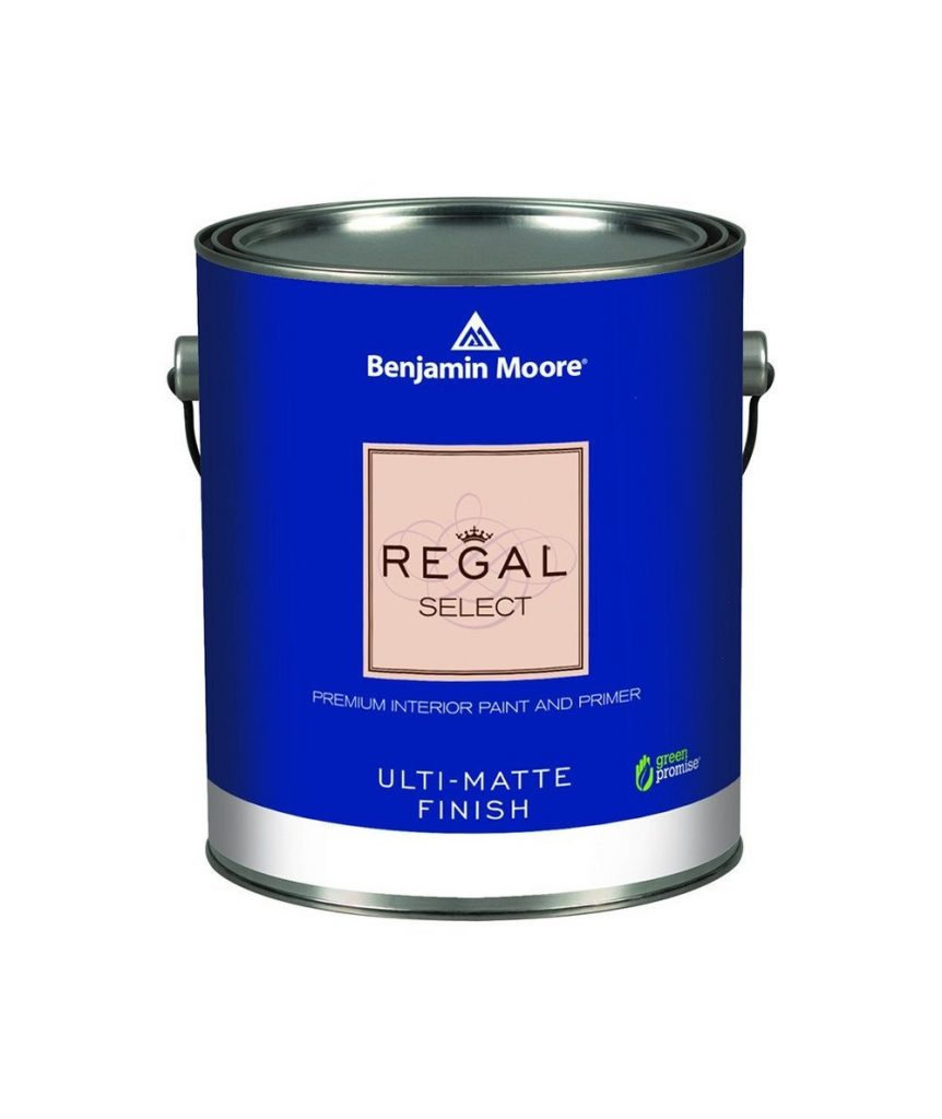 Benjamin Moore's regal select paint against a white background.